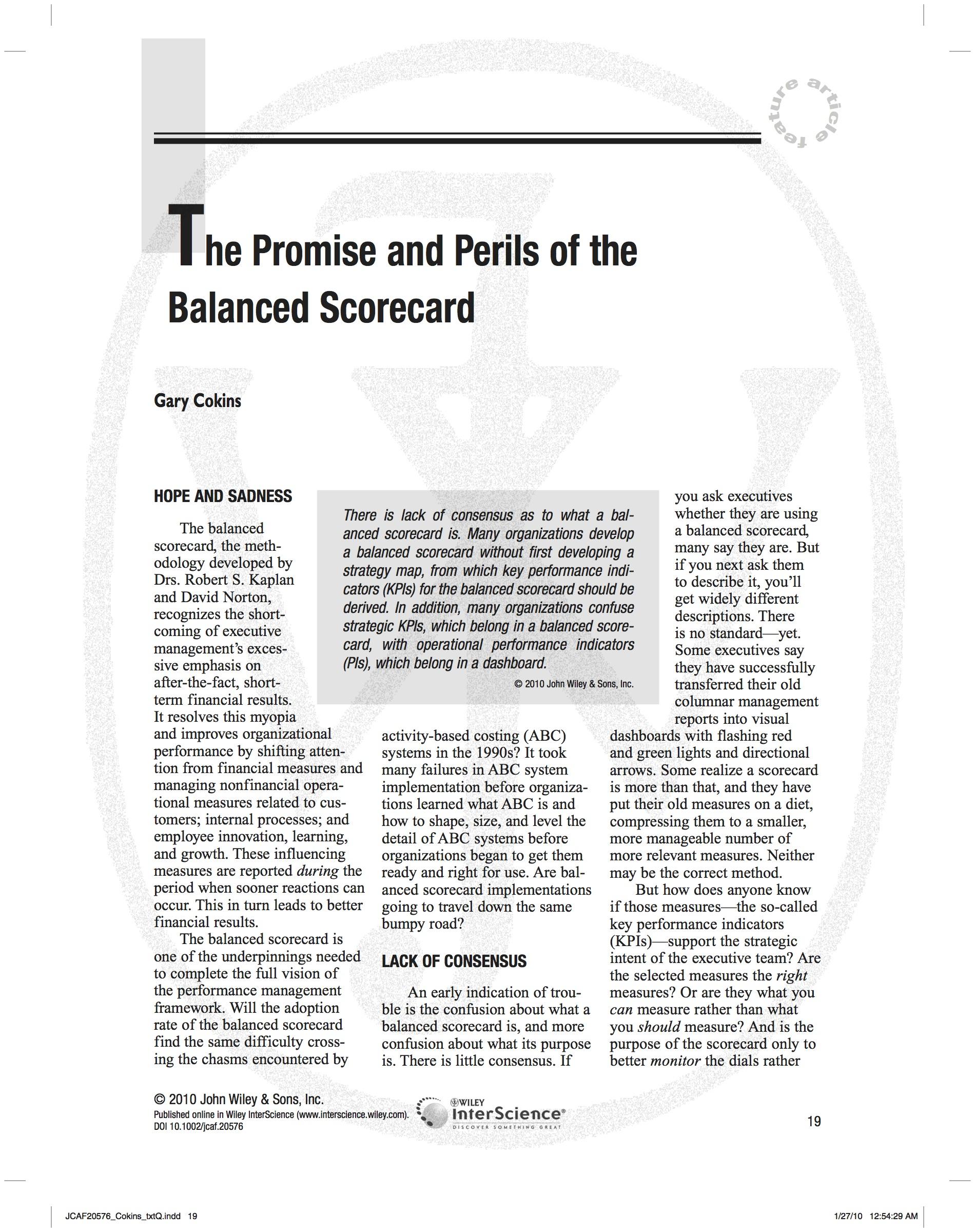 The Promise and Perils of Balanced Scorecard