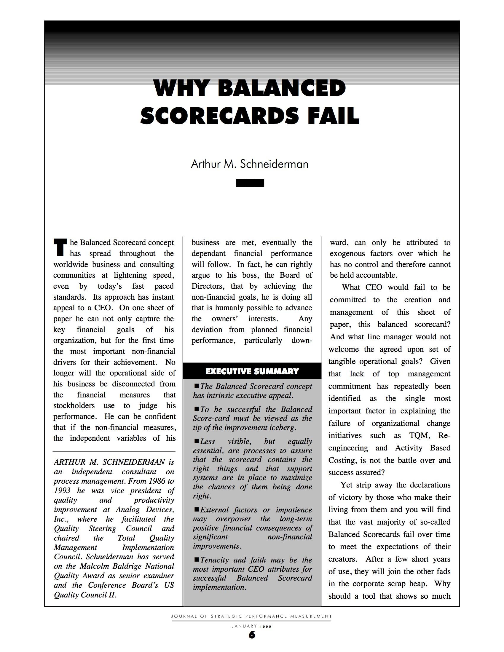 Why Balanced Scorecards Fail!